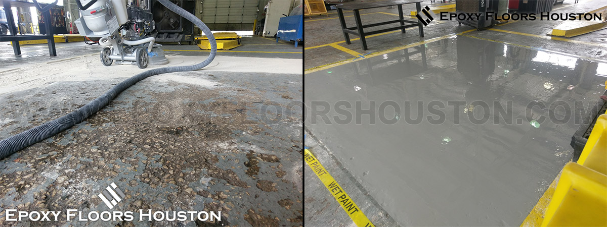 We transformed this area by crack repair, surface grinding for a level profile, and commercial grade epoxy coating.